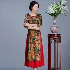 b5d6e410d9e 7m14 원피스 긴소매 롱슬리브 봄옷 커버롤 이모션 치파오 깔끔한 엄마 어머니 베트남 파티